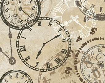 On time - Steampunk Clocks - Quilting Cotton  [[by the half yard]]