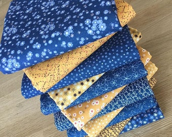 Matilda in Sapphire Blue and Mustard Yellow Quilting JUMBO Fat Quarter Bundle by Indigo Fabrics 100% cotton