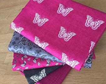 BOTANICA BUTTERFLIES in Pink & Grey Fat Quarter Bundle by Makower