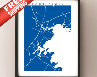 Port Elgin Map - New Brunswick Art Poster