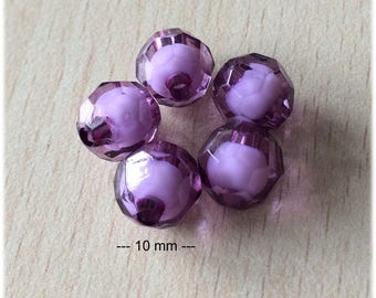 Bag of tasca lilac faceted beads