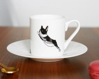 Boston Terrier 'Lean' Fine Bone China Espresso Cup and Saucer by Giddypup