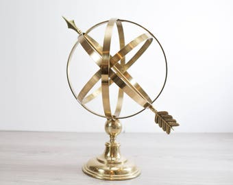 Brass Armillary Celestial Sphere / Large Tabletop Globe with Arrow Office, Living Room or Bedroom Decor /