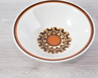 Vintage Large Bowl / Set of 7 Aztec Haniwa Stone Genuine Stoneware / Made in Japan / Geometric Design Earthtone Orange Brown Primitive
