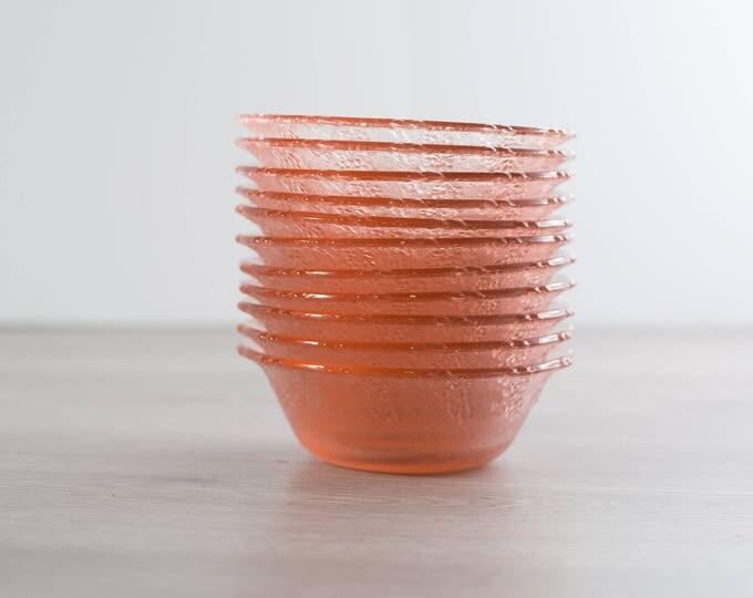 Vintage Pink Glass Grape Textured Bowls