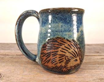 Hedgehog Mug 16 oz - Nature Lover Gift - Unique Mug - Book Lover Gift - Unique Pottery Mug - Nature Inspired - Teen Girl Gift -  Mesiree