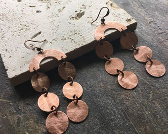 Scuffed copper chandelier earrings