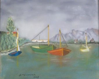 Painting in pastel night falling boats sea Navy