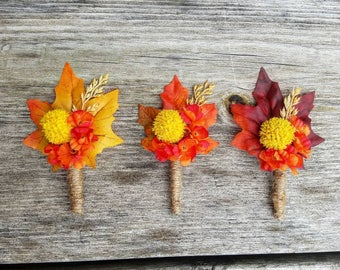 Fall Boutonniere, country boutonniere, rustic boutonniere, Fall leaf boutonniere, country wedding, rustic wedding, red fall boutonniere