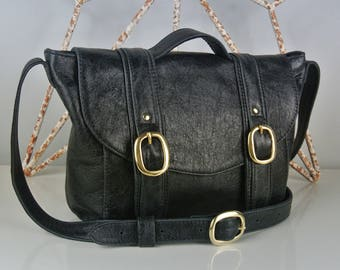 Black Leather 'Chloe' Handbag - Personalised - Shoulder bag- Cross-body bag - Made in the UK - Italian Leather