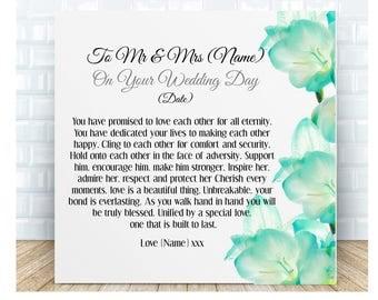 Wedding Day Poem Ceramic Plaque Bride & Groom. Personalised Gift