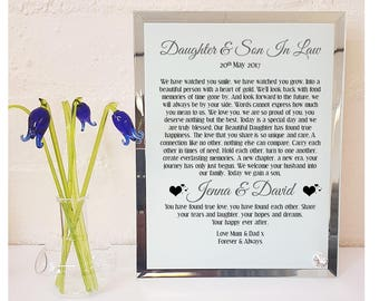 Daughter & Son in Law  Poem Glass Plaque. Personalised Wedding Gift