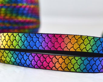"rainbow Shiny Mermaid Scales Fish Print FOE Ribbon  5/8"" wide RS1015"