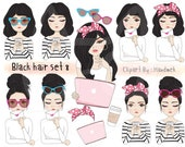 Black hair girl Clip art set 8 , instant download PNG file - 300 dpi