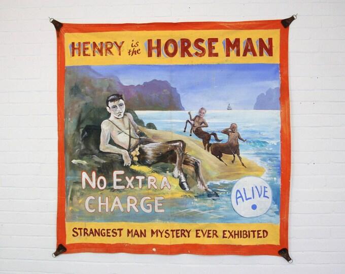 "Oil On Canvas Circus Sideshow Banner ""Horseman"""