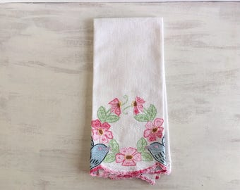 Vintage Embroidered Guest Hand Towel With Birds & Flowers