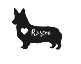 Corgi Decal, Texas Relief Decal, Dog Heart Decal, Dog Name Decal, Personalized Dog Sticker, Pet Owner, Bumper Sticker, Car Decal
