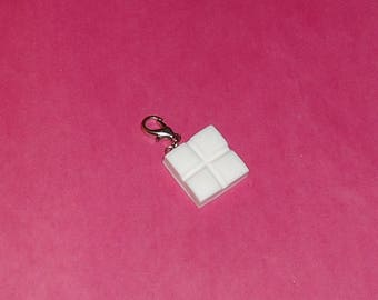 "1 ""Square of white polymer clay white chocolate"" Charms 18x18mm"