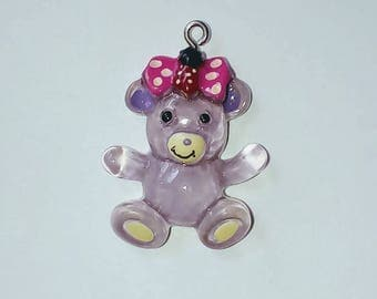 X 1 translucent purple kawaii Teddy bear