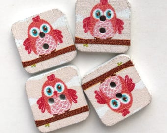X 8 square buttons wooden pink owl (hole height) 15X15mm