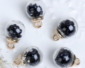 X 1 black 21X16mm crystal glass Globe pendant