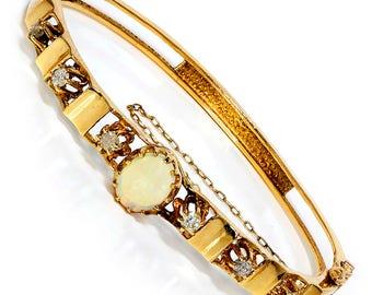 Vintage Australian Opal Bangle with Diamonds in 14K Yellow Gold 1.60ctw