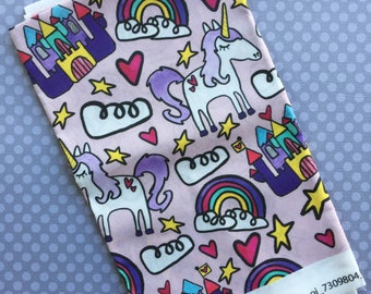 Extra Large Fairy Tale Fabric- Fat Quarter, Spoonflower, Basic Ultra Cotton, Eco Friendly Textiles, Hello Quirky, Unicorn, Rainbows