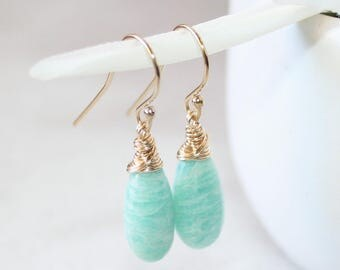 Natural Amazonite Dangle Drop Earrings, 14K Gold Filled, Wire Wrapped, Aqua Blue Gemstone Earrings, Smooth Amazonite Pear Drop