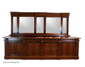 12' Victorian Mahogany Mirrors Back and Front Bar Home Pub