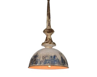 Stunning Pendant Light Fixture with Aged Dome Metal Shade Funnel