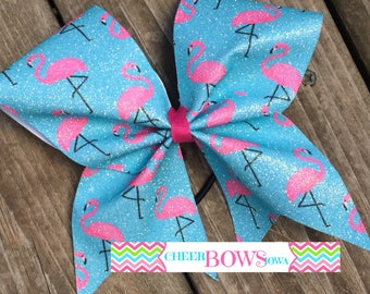 FLAMINGO sublimated cheer bow -- 1 left!