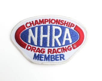 "Vintage NHRA Drag Racing Member Hot Rod Club Embroidered Patch 4.5"" x 2.5"""