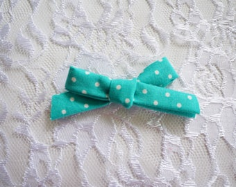 Teal with white dots tie bow