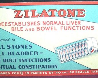 Vintage Zilatone advertising blotter, bowel functions
