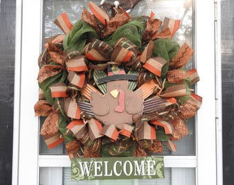 Welcome Thanksgiving Turkey Deco Mesh Wreath