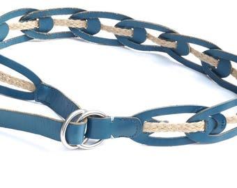Teal Blue Leather Belt with Braided Jute Detail,Vintage Linea Pelle Leather Belt,Size Large Boho Hippie Belt, Double Ring Adjustable Belt,