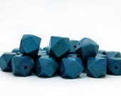 15mm Blue Geometric Polygon Wood Beads - Dyed and Waxed - 15 inch strand