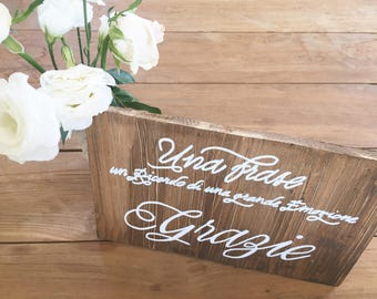 Custom calligraphic antique wood wedding sign / Guest book