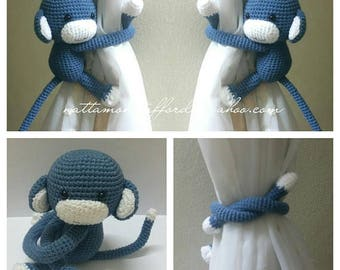 A pair of Lead gray Monkeys Curtain Tiebacks (Both side)    MADE TO ORDER..