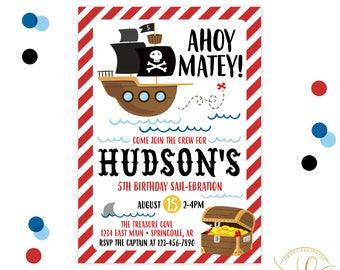 Pirate Invitation | Pirate Party | Pirate Birthday | Pirate Ship Invitation | Shark Invitation | Boy Birthday Party Invitation