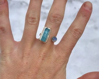 Raw Aquamarine and Rainbow Moonstone ring // size 7.5  // handmade silver jewelry