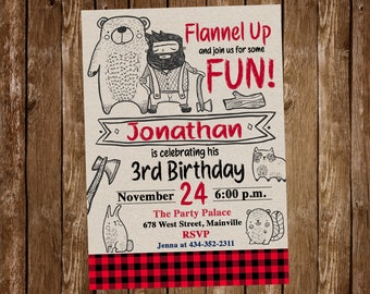 Lumberjack Birthday Invitation, Doodle. Wild, Wilderness, Nature, Birthday, Invitation, Party, Lumberjack - Printable or Printed