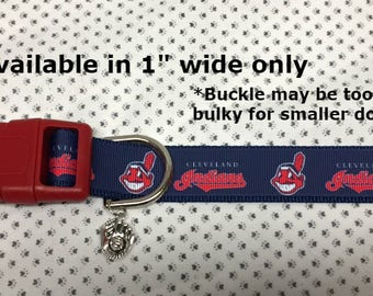 "Cleveland Indians Baseball MLB Team Inspired 1"" wide Adjustable dog collar with a Baseball charm"