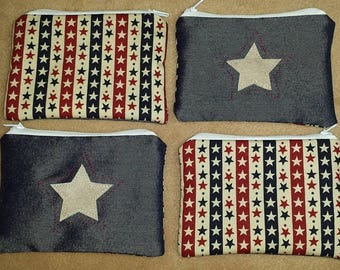 Fabric zipped purse, coin purse, coin bag, wallet, Stars.