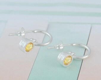 ON SALE NOW Citrine Hoops, Gemstone Earrings, Silver Dangle Earring, Silver Hoops, November Birthstone, Yellow Gemstone, Birthstone Earrings