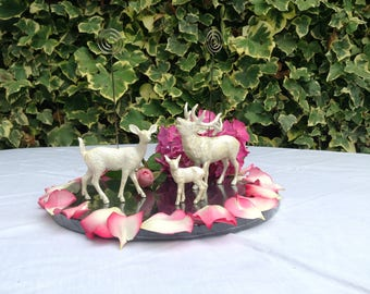 Deer stag doe and fawn table number holders cake topper in pearl
