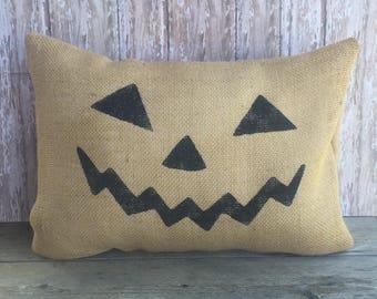 Halloween Jack O' Lantern Pillow Cover..Natural Burlap 12x16, 16x16 or 18x18 Throw Pillow Cover, Home Decor Pillow Case