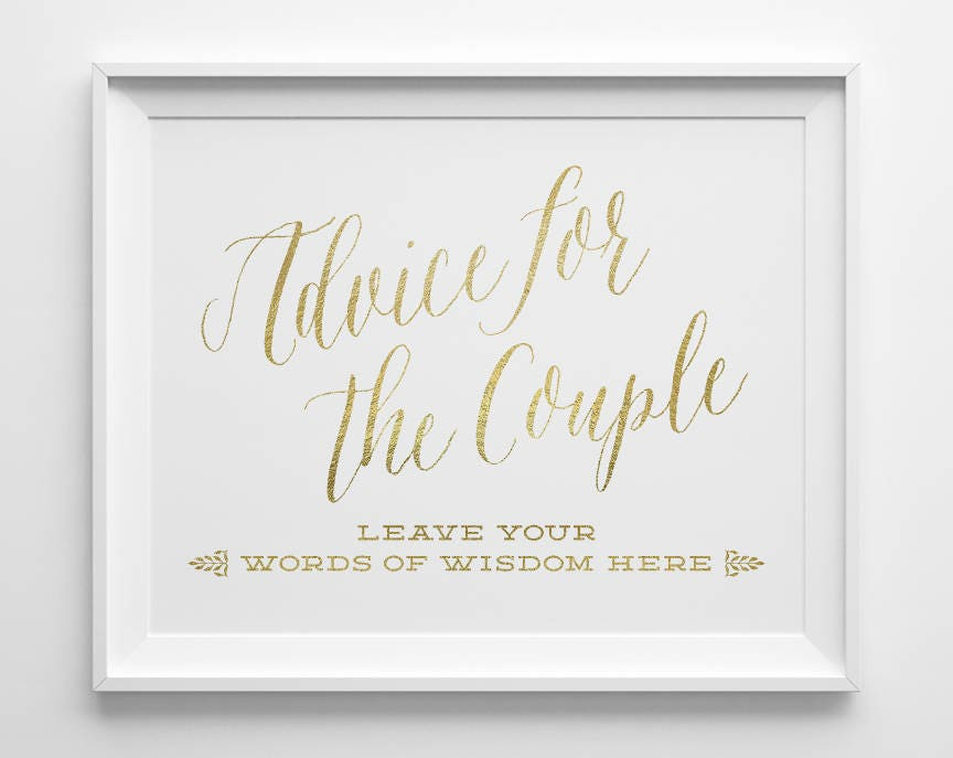 Wedding Signs, Advice for the Couple Sign, Leave Your Words of ...