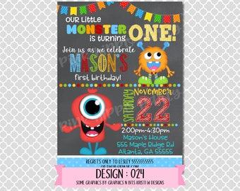 Our Little Monster Boy, First Birthday:Design #024-Children's Birthday Invitation, Personalized, Digital, Printable, 4x6 or 5x7 JPG