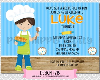 Chef Cooking, Baking Boy:Design #216-Children's Birthday Invitation, Personalized, Digital, Printable, 4x6 or 5x7 JPG
